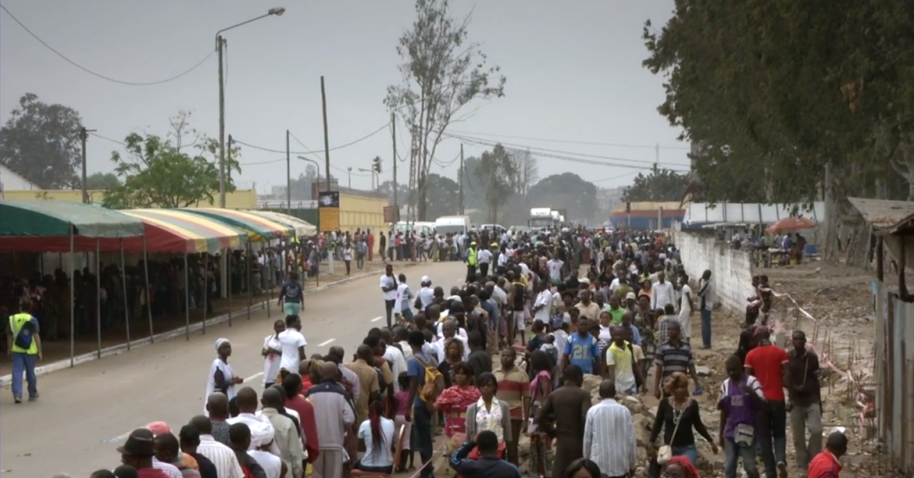 Thousands line up during the Mercy Ships surgical screening process at an African port city.
